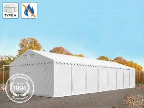 Opslagtent 6x16 m, PVC brandvertragend wit