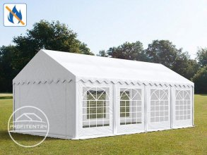 Partytent 4x8 m, PVC 500 g/m² brandvertragend, wit