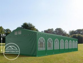 Partytent 8x36 m - 2,6m hoogte zijwand, PVC 550 g/m², donkergroen