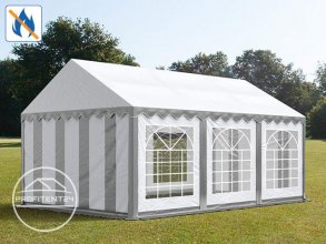 Partytent 4x6 m, PVC 500 g/m² brandvertragend, grijs wit