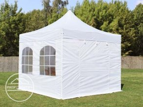 3x3 m Easy Up partytent met zijwanden (4 vensters), PREMIUM, wit