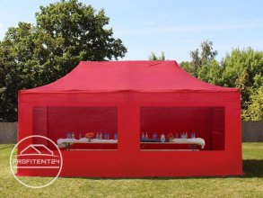 4x8 m Easy Up partytent met zijwanden (2 panorama), ALU PROFESSIONAL 50 mm, rood