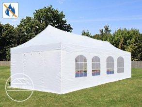 4x8 m Easy Up partytent PVC brandvertragend met zijwanden(8 vensters), ALU PROFESSIONAL, wit