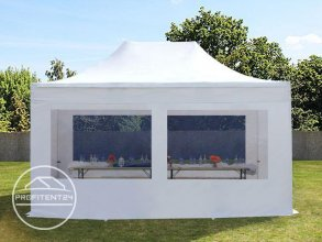 3x4,5 m Easy Up partytent met zijwanden (4 panorama), PREMIUM, wit