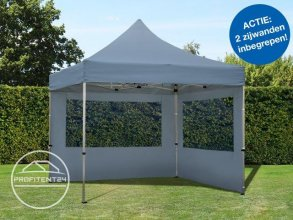 3x3 m Easy Up partytent, ECONOMY Alu, donkergrijs