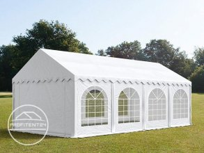 Partytent 4x8 m, PVC 500 g/m², met Grondframe, wit