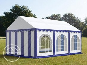 Partytent 3x6 m, PVC 500 g/m², met Grondframe, blauw wit