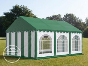 Partytent 3x6 m, PVC 500 g/m², met Grondframe, groen wit