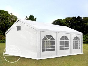 Partytent 3x6 m, PE 300 g/m², met Grondframe, wit