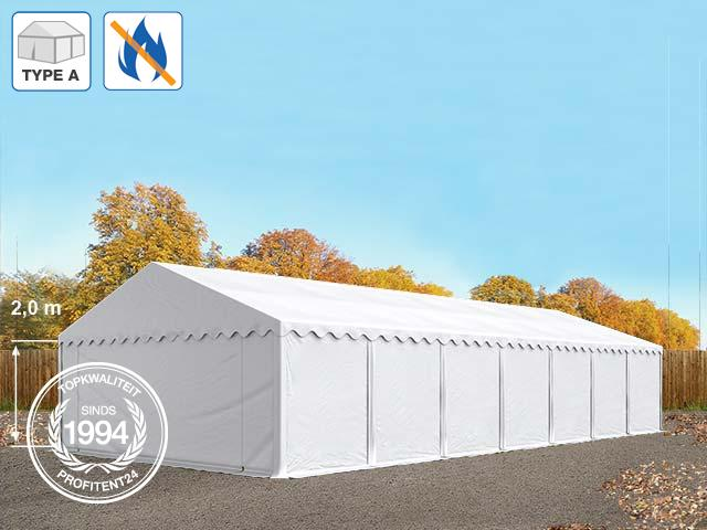 Opslagtent 6x14 m, PVC brandvertragend wit