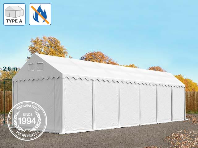 Opslagtent 3x12 m, PVC brandvertragend wit