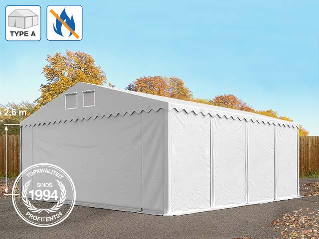 Opslagtent 8x8 m, PVC brandvertragend wit