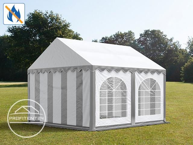 Partytent 4x4 m, PVC 500 g/m² brandvertragend, grijs wit