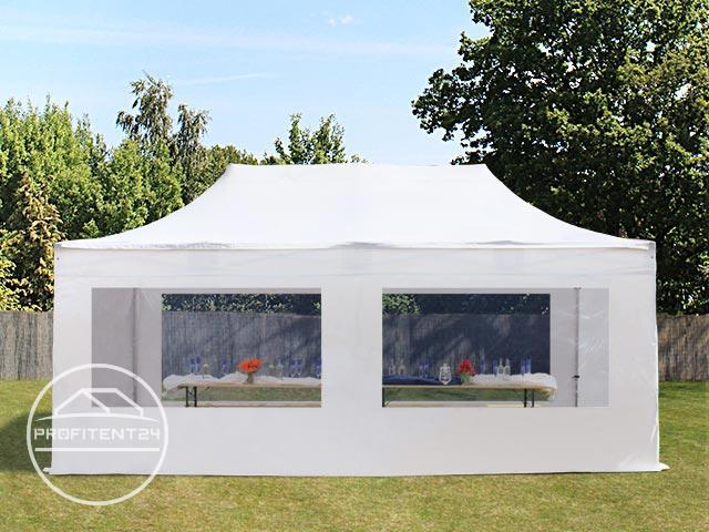3x6 m Easy Up partytent met zijwanden (4 panorama), PREMIUM, wit