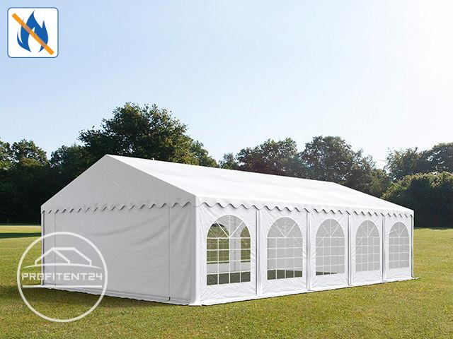 Partytent 5x10 m, PVC 500 g/m² brandvertragend, wit