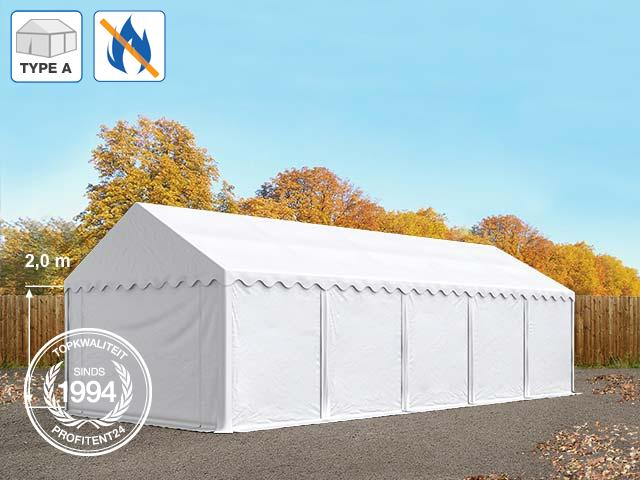 Opslagtent 4x10 m, PVC brandvertragend wit