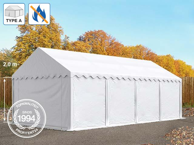 Opslagtent 3x8 m, PVC brandvertragend wit