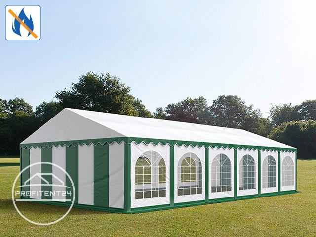 Partytent 6x12 m, PVC brandvertragend groen-wit