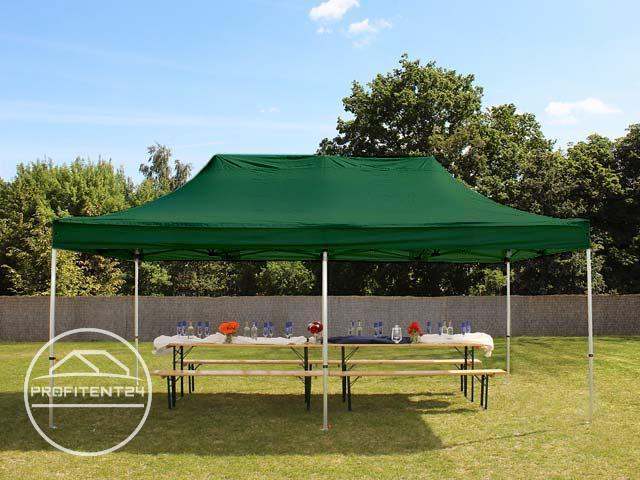 3x6 m Easy Up partytent, PREMIUM, donkergroen