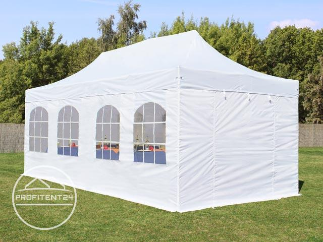 3x6 m Easy Up partytent met zijwanden (8 vensters), PREMIUM, wit