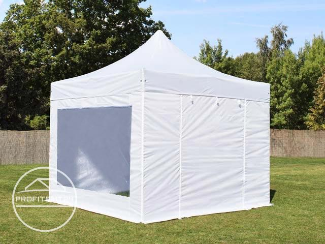 3x3 m Easy Up partytent met zijwanden (2 panorama), PREMIUM, wit