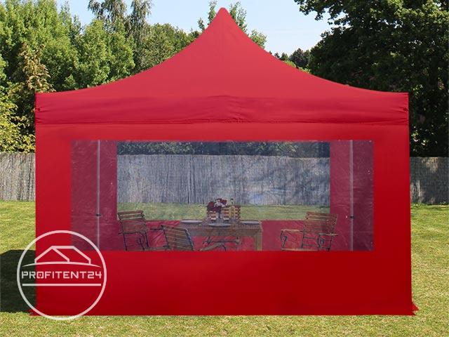4x4 m Easy Up partytent met zijwanden (2 panorama), ALU PROFESSIONAL, rood