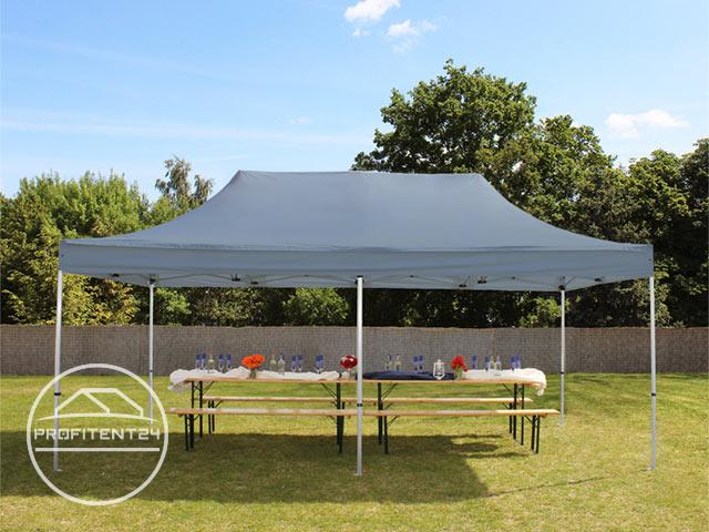 3x6 m Easy Up partytent, PREMIUM, donkergrijs