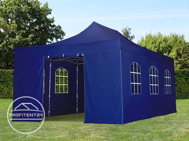 4x6 m Easy Up partytent met zijwanden (6 vensters), ALU PROFESSIONAL 40 mm, blauw