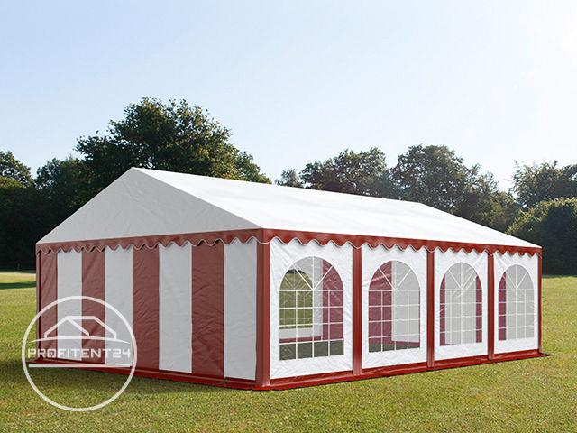Partytent 6x8 m, PVC 500 g/m², met Grondframe, rood wit