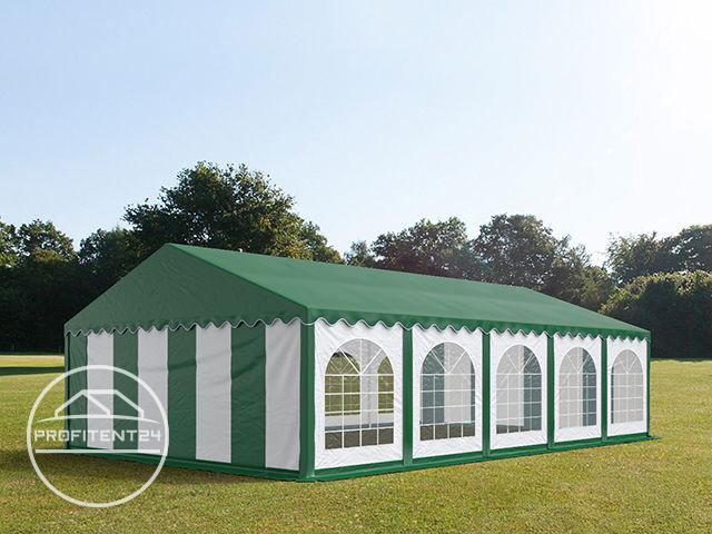 Partytent 5x10 m, PVC 500 g/m², met Grondframe, groen wit