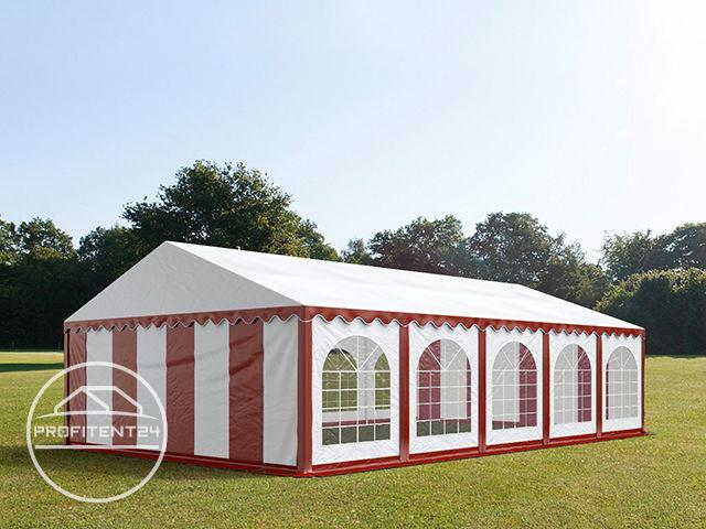 Partytent 5x10 m, PVC 500 g/m², met Grondframe, rood wit