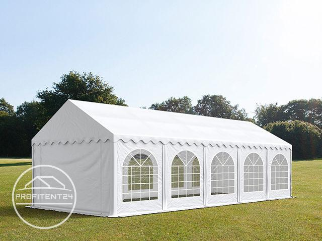 Partytent 4x10 m, PVC 500 g/m², met Grondframe, wit