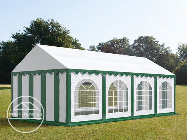Partytent 4x8 m, PVC 500 g/m², met Grondframe, groen wit