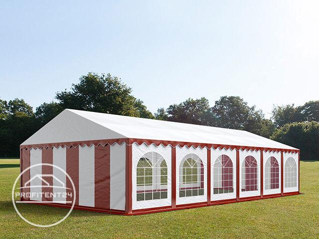Partytent 6x12 m, PVC 500 g/m², met Grondframe, rood wit