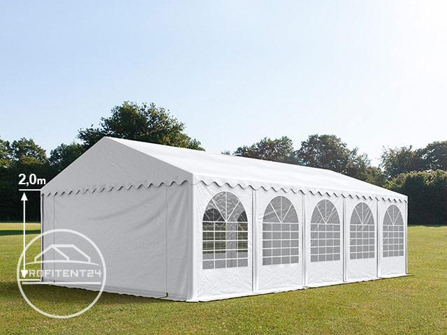 Partytent 5x10 m, PVC 550 g/m², met Grondframe, wit